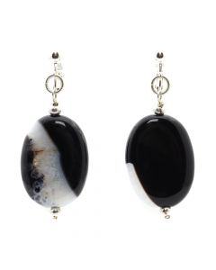 "Miramontes Earrings with Large, Flat, Oval Black and White Agate Beads, 2.5"" x 1"" (J91305-0920-010)"