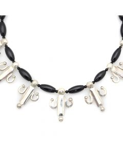 "Miramontes - Seven Dancing Spirits with Oval Onyx Beads Necklace, 16.5"" length (J91305-117-004)"