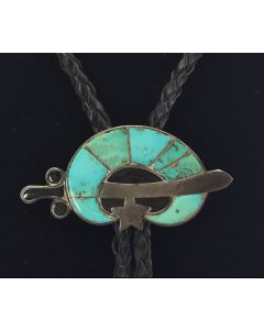 "Zuni Turquoise Channel Inlay and Silver Bolo Tie with the Shriner Design, c. 1957-67, 1"" x 2.25"""