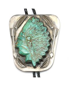 "Navajo Turquoise and Silver Bolo Tie with Carved Native American Design c. 1970s, 3.25"" x 3"" (J91339B-0120-006)"