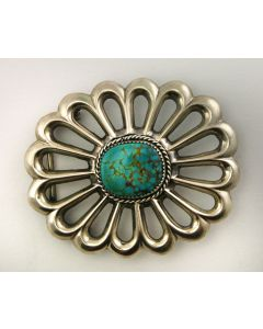 SOLD Wilfred B. Henry - Navajo Turquoise and Silver Belt Buckle