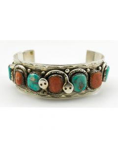 SOLD Effie Calavaza - Zuni Turquoise, Coral and Silver Bracelet with Double Snake Design