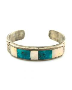 Zuni Turquoise and Mother of Pearl Channel Inlay and Silver Bracelet, c. 1960s, Size 6.25
