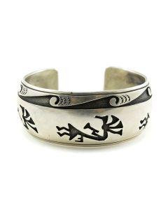 Hopi Silver Overlay Kokopelli Bracelet, Size 6.875