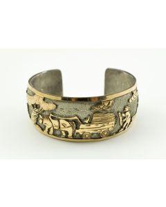 SOLD Floyd and Lloyd Becenti - Navajo Sterling Silver and Gold Filled Storyteller Bracelet