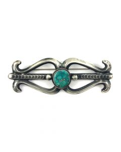 Mary Cayatineto - Navajo Turquoise and Sandcast Silver Pin 1