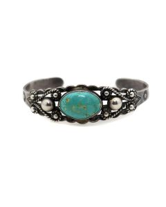 Navajo Turquoise and Silver Bracelet with Stamped Designs c. 1950s, size 6.5 (J91369B-0321-059)