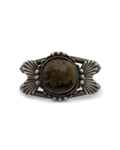 Navajo Petrified Wood and Silver Bracelet c. 1940s, size 6.75 (J91369B-0321-069)