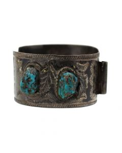 Navajo Turquoise and Silver Watchband, circa 1960s, Size 7