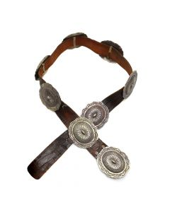 "Navajo Silver and Leather Concho Belt c. 1960s, sizes 35-38"" (J91385B-0120-001)"