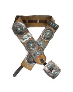 "Navajo Turquoise, Silver, and Leather Concho Belt c. 1944, 34"" to 43"" waist (J91392B-0720-001)"