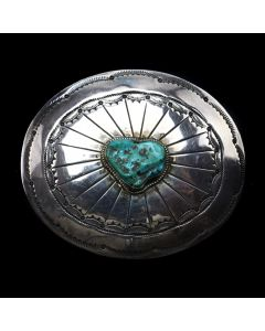 "Navajo Turquoise and Silver Belt Buckle c. 1940s, 2.75"" x 3"" (J91467-0520-003)"