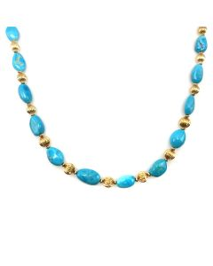 Frank Patania, Jr. - 14K Gold and Sleeping Beauty Turquoise Necklace (J91620A-0217-001)