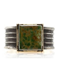 Frank Patania, Jr. - King Mine, CO Turquoise, 14K Gold, and Sterling Silver Bracelet