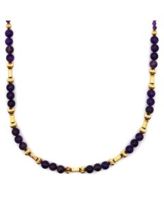 "Amethyst and 14K Gold Beade Necklace, Strung by Frank Patania, Jr., 32"" length (J91620A-0221-014)"