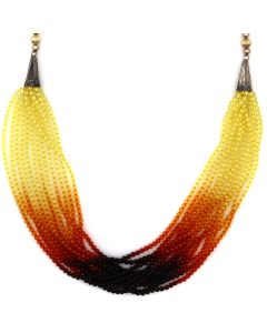 "12-Strand Necklace with Glass Beads, 14K Gold Beads, and Sterling Silver; Strung by Frank Patania, Jr., 34"" length (J91620A-0221-015)"