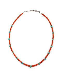 """Natural Turquoise, Coral, and Sterling Silver Beaded Necklace, Strung by Frank Patania, Jr., 21"""" length (J91620A-0221-021)"""