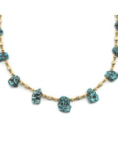 "Frank Patania, Jr. - Natural Kingman Turquoise Nuggets and 14K Gold Beaded Necklace, 24"" length (J91620A-0620-006)"