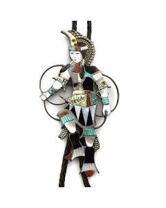 "Edward A. Beyuka (1921-2002) - Zuni Multi-Stone Channel Inlay and Silver Hoop Dancer Bolo Tie c. 1960s, 6"" x 3.5"""