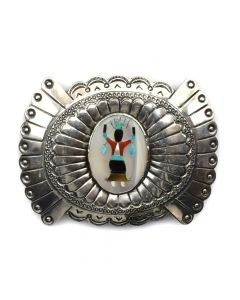 "Jennie Blackgoat (1932-2005) - Navajo Multi-Stone Inlay and Silver Belt Buckle with Stamped Design c. 1970-80s, 3"" x 4"""
