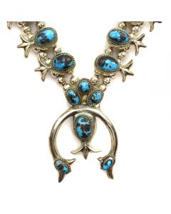 """Navajo Turquoise and Silver Squash Blossom Necklace c. 1950s, 24"""" length (J91634A-1219-010)"""