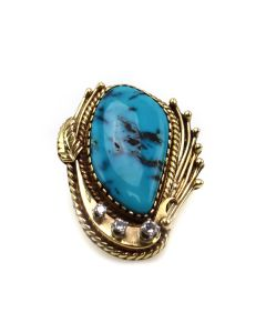 Carlos White Eagle (1937-2013) - Apache Turquoise, Diamond, and 14K Gold Ring c. 1980s, size 5 (J91643A-0321-002)