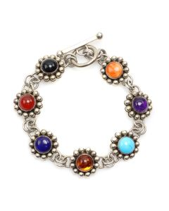 "Richard ""Little"" Yellowhorse - Navajo Multi-Stone and Sterling Silver Link Bracelet c. 2000s, size 7 (J91644A-1220-001)"