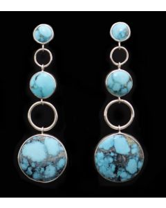 """Sam Patania Collection - """"Moda Trios"""" Yungai (Chinese)Turquoise and Sterling Silver Dangle Post Earrings, 3.25"""" x 1"""" (J91699-0221-014)"""