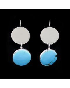 """Sam Patania - Couture """"Tranquil"""" Prince of Egypt Treated Egyptian Turquoise and Sterling Silver Hook Earrings, 2.625"""" x 1"""" (J91699-0421-010)"""