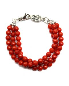 Sam Patania - Three-Strand Coral and Sterling Silver Beaded Bracelet, size 8 (J91699-0520-015)