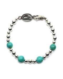 Sam Patania - Kingman Turquoise and Sterling Silver Beaded Bracelet, size 7.25 (J91699-0520-017)