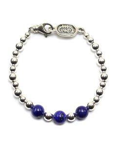 Sam Patania - Lapis Lazuli and Sterling Silver Beaded Bracelet, size 7.5 (J91699-0520-018)