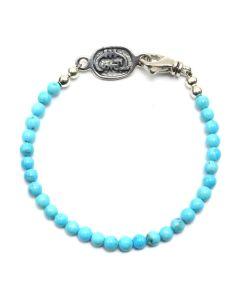 "Sam Patania - ""Arizona Sky"" Turquoise and Sterling Silver Beaded Bracelet, size 7 (J91699-0520-020)"