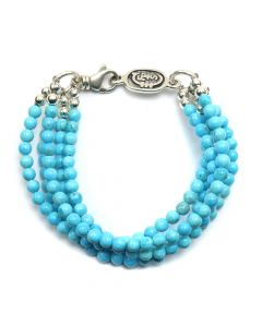 "Sam Patania - ""Arizona Sky"" Five-Strand Turquoise and Sterling Silver Beaded Bracelet, size 7 (J91699-0520-021)"