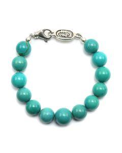Sam Patania - Kingman Turquoise and Sterling Silver Beaded Bracelet, size 7.5 (J91699-0520-024)