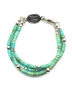 """Sam Patania - """"Gaia"""" Three-Strand Turquoise and Sterling Silver Beaded Bracelet, size 6 (J91699-0520-025)"""