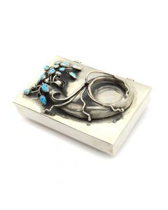 Sam Patania - Sterling Silver Flower Box with Morenci Turquoise
