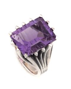 "Sam Patania Collection - ""Grand Cathedral Ring"" Amethyst and Sterling Silver Ring, size 6 (J91699-0720-007)"