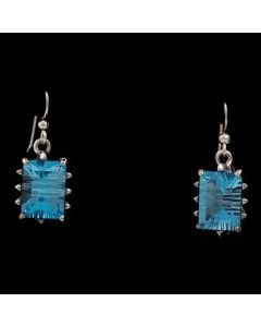 "Sam Patania Collection - ""Grand Cathedral Dangles"" Blue Topaz and Sterling Silver French Hook Earrings, 1.5"" x 0.625"" (J91699-0720-010)"