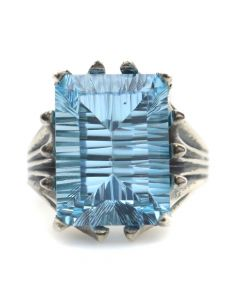 """Sam Patania Collection - """"Grand Cathedral Ring"""" Blue Topaz and Sterling Silver Ring, size 6 (J91699-0720-011)"""