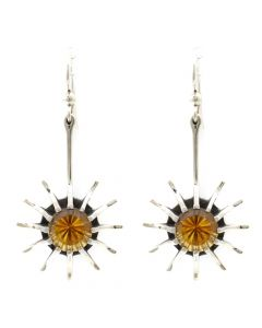 """Sam Patania Collection - """"Super Nova Star"""" Citrine and Sterling Silver French Hook Earrings, 2"""" x 1"""" (J91699-0720-014)"""