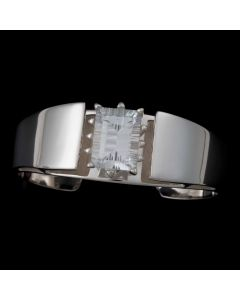 "Sam Patania Collection - ""Grand Isla Cuff"" White Topaz and Sterling Silver Bracelet, size 6 (J91699-0720-032)"