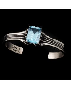 """Sam Patania Collection - """"Grand Cathedral Cuff"""" Blue Topaz and Sterling Silver Bracelet, size 6.25 (J91699-0720-034)"""