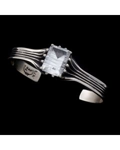 """Sam Patania Collection - """"Grand Cathedral Cuff"""" White Topaz and Sterling Silver Bracelet, size 6 (J91699-0720-036)"""