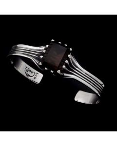 """Sam Patania Collection - """"Grand Cathedral Cuff"""" Smoky Quartz and Sterling Silver Bracelet, size 6.5 (J91699-0720-037)"""