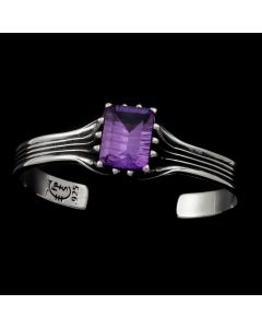 """Sam Patania Collection - """"Grand Cathedral Cuff"""" Amethyst and Sterling Silver Bracelet, size 6.25 (J91699-0720-038)"""