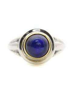 """Sam Patania Collection - """"Lively Tabriz"""" Sapphire, 22Kt Gold Bezel, and Sterling Silver Ring, size 6 (J91699-0720-052)"""