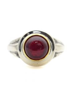"""Sam Patania Collection - """"Lively Tabriz"""" Ruby, 22Kt Gold Bezel, and Sterling Silver Ring, size 6.25 (J91699-0720-053)"""