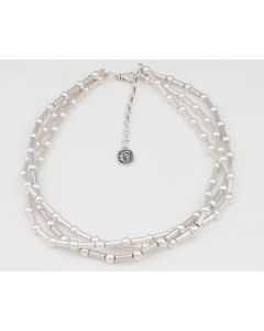 "Sam Patania Collection - ""Romance 3 Strand Dot Dash 6"" Sterling Silver Necklace, 20"" length (J91699-0720-059)"