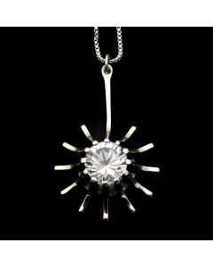 "Sam Patania Collection - ""Super Nova Star"" White Topaz and Sterling Silver Pendant with Chain, 18"" length (J91699-0720-065)"